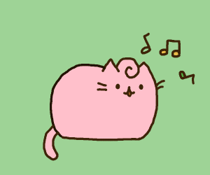 Cute lil cartoon cat and music notes