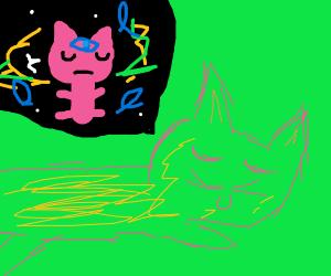 Sleeping cat dreams of Eternal life (ankh)