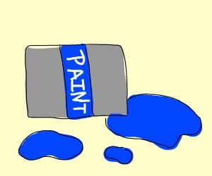 Blue paint spilled