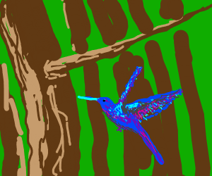 a blue humming bird in a tree