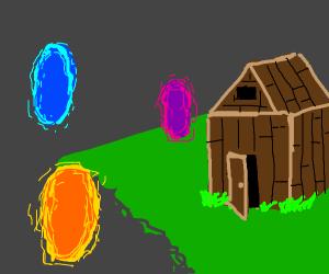 Several portals open outside a shack