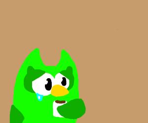 Dead inside Duolingo Bird drinking coffee