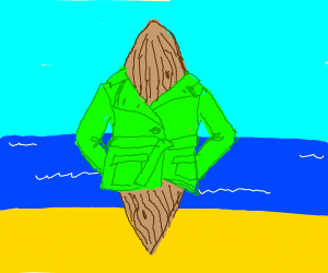 wooden surfboard in a green trenchcoat/blazer
