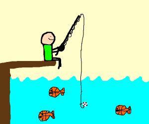fishing for a bascketball