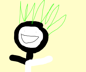 black and white guy with green spiky hair
