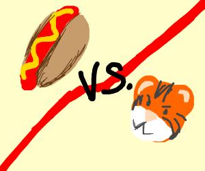 Hot Dog vs Tiger