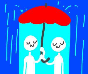 Sharing an umbrella.