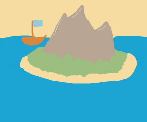 Island w/ mountains in the ocean ship in bac