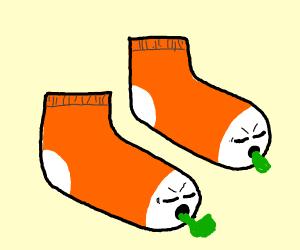 Orange puking socks