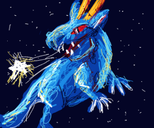 blue space dragon exhaling a star