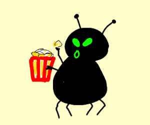 Nightmare insect eating popcorn