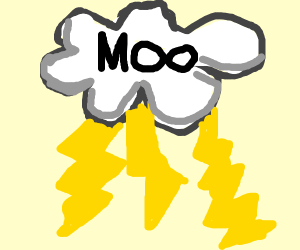 clouds with thunder and moo
