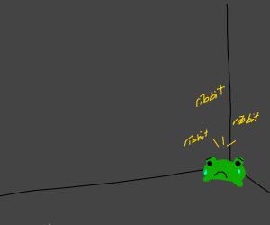 Sad frog sits in a corner and ribbits sadly