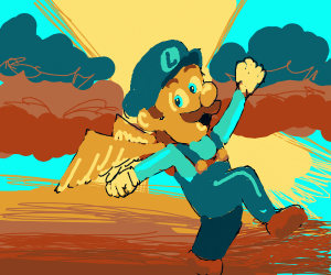Luigi floats up to heaven