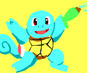 squirtle shooting a water gun