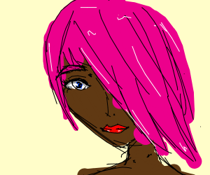 Dark Woman with Pink Hair