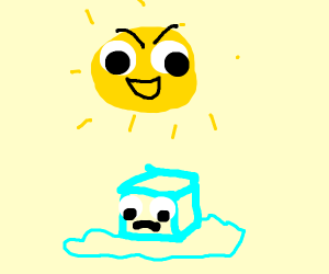 Ice cube gets melted by the sunnn!