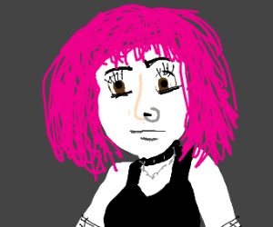 Goth lady with pink hair