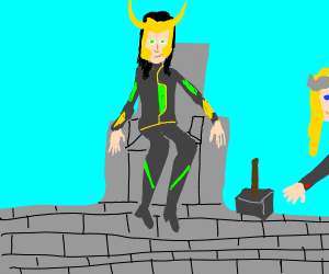 Loki sitting in a chair