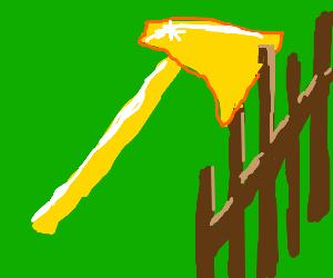 A golden axe stuck in a fence