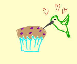 Humming bird kisses blue berry cupcake