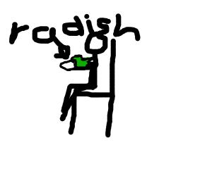 stickman eating radish behind chair