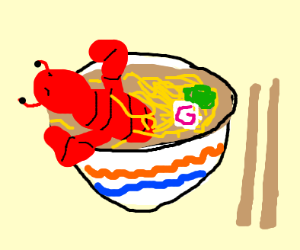 Yummy lobster ramen dish