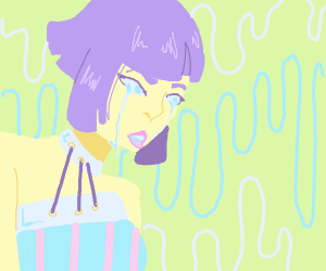 weeping purple haired girl