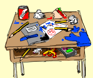 A messy school desk