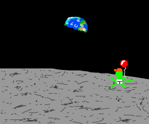 Small alien child is on the moon with a bloon
