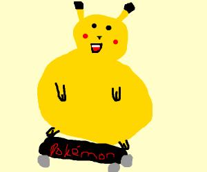 Obese Pikachu on a skateboard