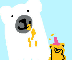 Polar bear eating honey