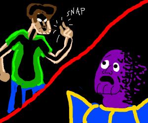 Shaggy defeats Thanos