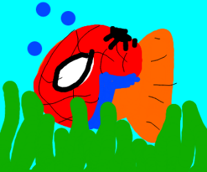 fish cosplaying as spiderman