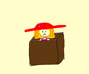 Girl with red hat in small box