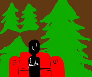 black figure sitting on red couch in woods.