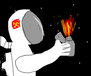 Space man lights fire in space