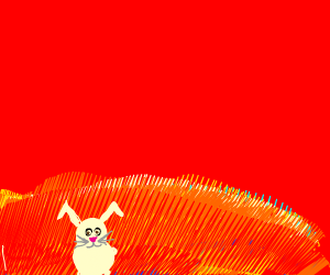Rabbit in Hell is enraged by bell pepper