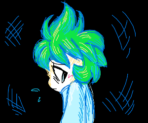 Green haired girl looks embarrassed in dark