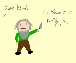 Dwarf stole our knife