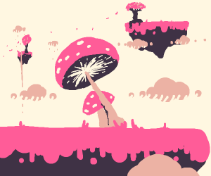 Big mushroom in a platformer world