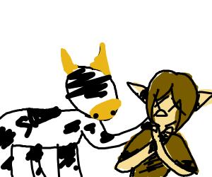 cow choking elf
