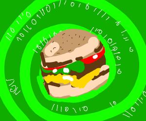 Burger inside of a cyber vortex