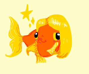 A beautiful fish with blonde hair