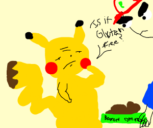 pikachu contemplating eating dog food