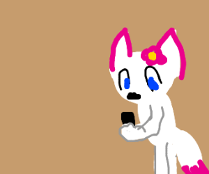 furry girl looking at a phone