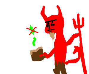 The devil finding no money in a wallet