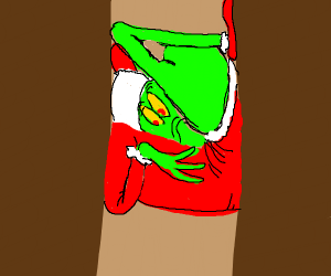 Grinch goes down chimney