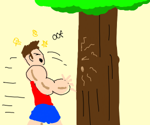 Stronk man ran into a tree