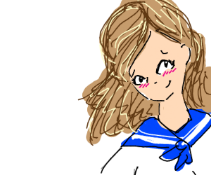 Girl in school uniform blushes